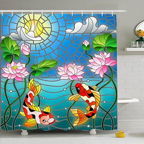 Ahawoso Shower Curtain 66x72 Inches Lotus Window Stained Glass Koi Fish Abstract Wildlife Mosaic Air Bubble Design Algae Waterproof Polyester Fabric Bathroom Curtains Set with Hooks