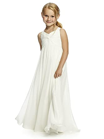 849ff6c06b30 BHL V Neck Chiffon Long Junior Bridesmaid Dress Flower Girl Dress Size US 4  Ivory