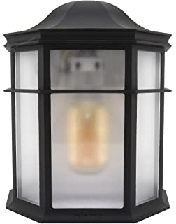 Vintage Outdoor Wall Light Black Flush Mount Frosted Glass Lantern Die Cast  Metal ZLC080