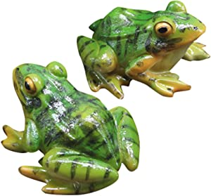VOSAREA 2pcs Frog Statue Mini Frog Resin Animal Sculpture Indoor Outdoor Decor for Garden Patio Yard Micro Landscape Fairy Garden Ornaments