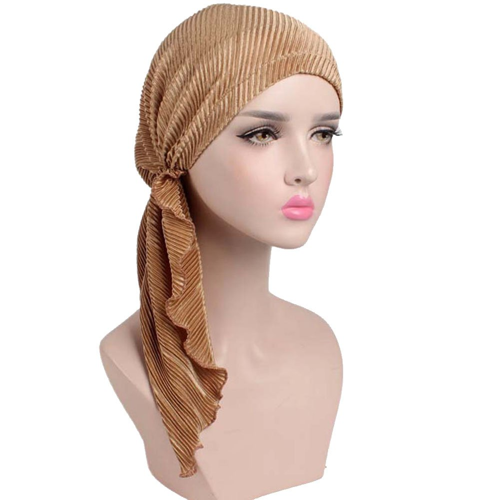 Womens Chemo Hat Pre Tied Ruffle Head Scarves Turban Headwear for Cancer MAXSCCHT007