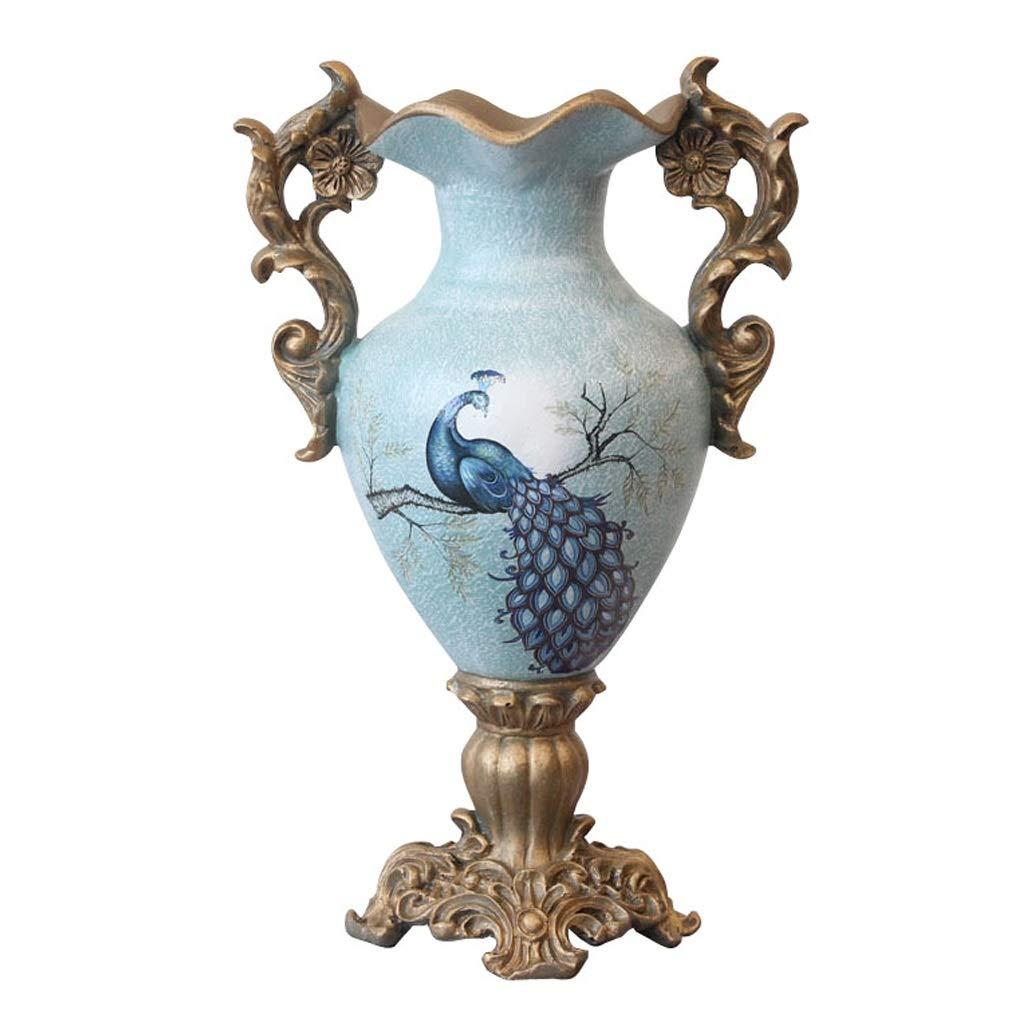 ダブル耳樹脂装飾花瓶花瓶高脚ヨーロッパスタイルヴィンテージ花瓶用リビングルームテーブルセンターピースフロア花瓶、ブルーピーコックパターン37センチ B07SQTSGPT