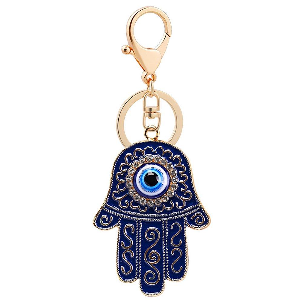 Slendima Cool Blue Evil Eye Key Chain,Fashion Hand of Fatima Key Ring Holder Bag/Wallet/Purse Decor - Black/Ink Blue