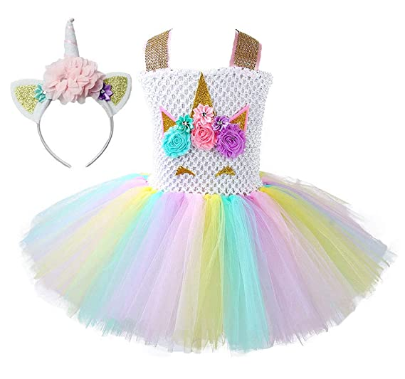 bec6df9b764 Amazon.com  Tutu Dress Kids Girls Unicorn Cosplay Costume Set 1-8 Years   Clothing