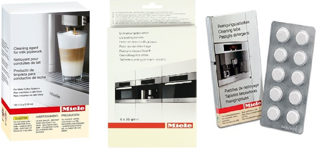 Miele Coffee Machine Cleaning Bundle: Descaling Tablets (6) PLUS Cleaning Tablets (10) PLUS Cleaning agent for Milk Pipework (100) by Miele