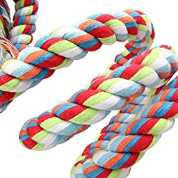Parrot Toys, Itery Colorful Cotton Rope Bungee Cage Toys 63 inch Parrot Chewing Toy