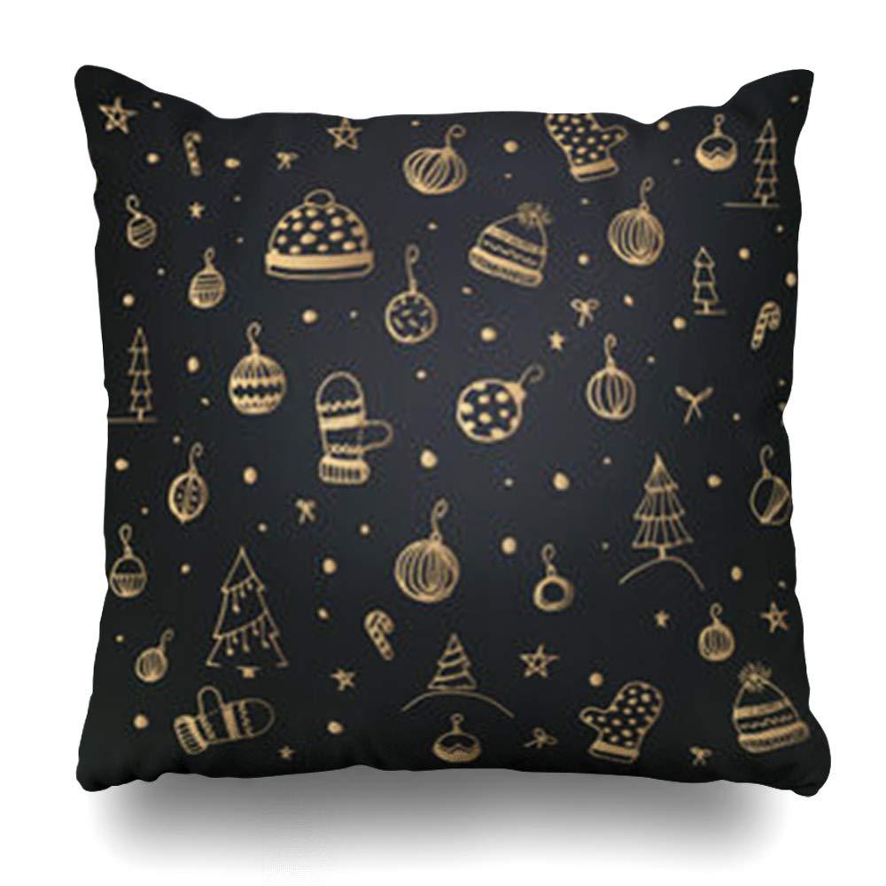 AileenREE スロー枕カバー パーティー グリーティング メリークリスマス ハッピーニューイヤー レタリング ホリデー おもちゃ ツリー ゴールド 抽象 ブラック 枕カバー 正方形 20