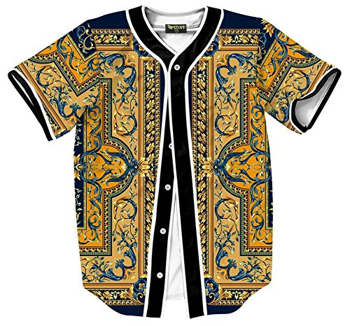 Pizoff Short Sleeve Baseball Team Jersey Luxury Gold Baroque Floral Basketball Shirt - Baroque Floral