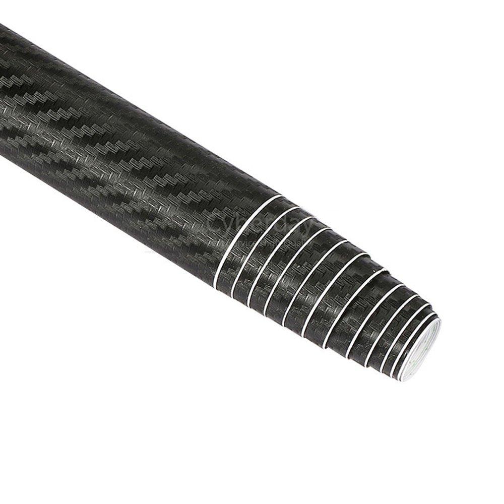 Rouleau de pellicule de fibre de carbone 3D bricolage autocollant feuille pour voiture vé hicule dé cor 152x50 cm (noir) MRCARTOOL