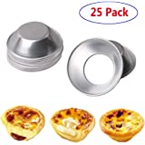 25Pack Egg Tart Molds Mould Mini Tiny Pie Muffin Cupcake Pans Tin Bakeware Cake Cookie Mold -NonStick Puto Cup(Aluminum)