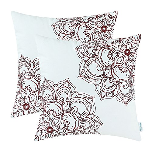 CaliTime Pack of 2 Cotton Throw Pillow Cases Covers for Couch Sofa Bed Vintage Mandala Flora Embroidered 18 X 18 inches Burgundy (Pillows Throw Lodge)