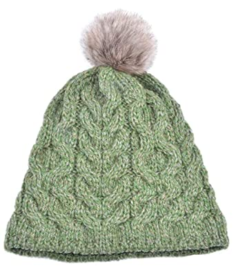 0af28e21be1 Aran Knitted Faux Fur Bobble Hat at Amazon Women s Clothing store