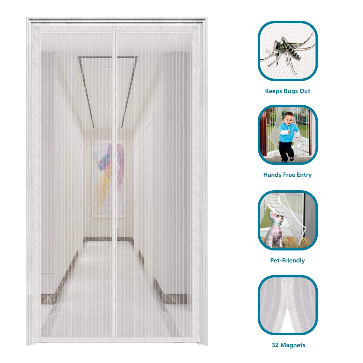 innotree 2019 Upgraded Magnetic Screen Door with 32 Magnets Heavy Duty Mesh Curtain, Fits Doors Up to 39''x82'', Dogs Pets Friendly Door Screen, White