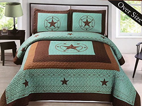 Western King Bed - Western Star Barbed Wire King Size Quilt and Shams 3pc Set Turquoise Blue