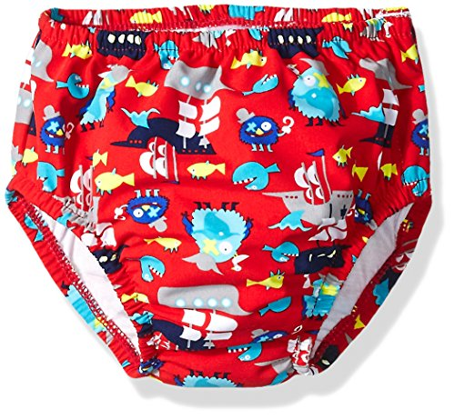 Swim Time Baby Boys' Funny Pirate Reusable Swim Diaper with Side Snaps, Red, 18-24M