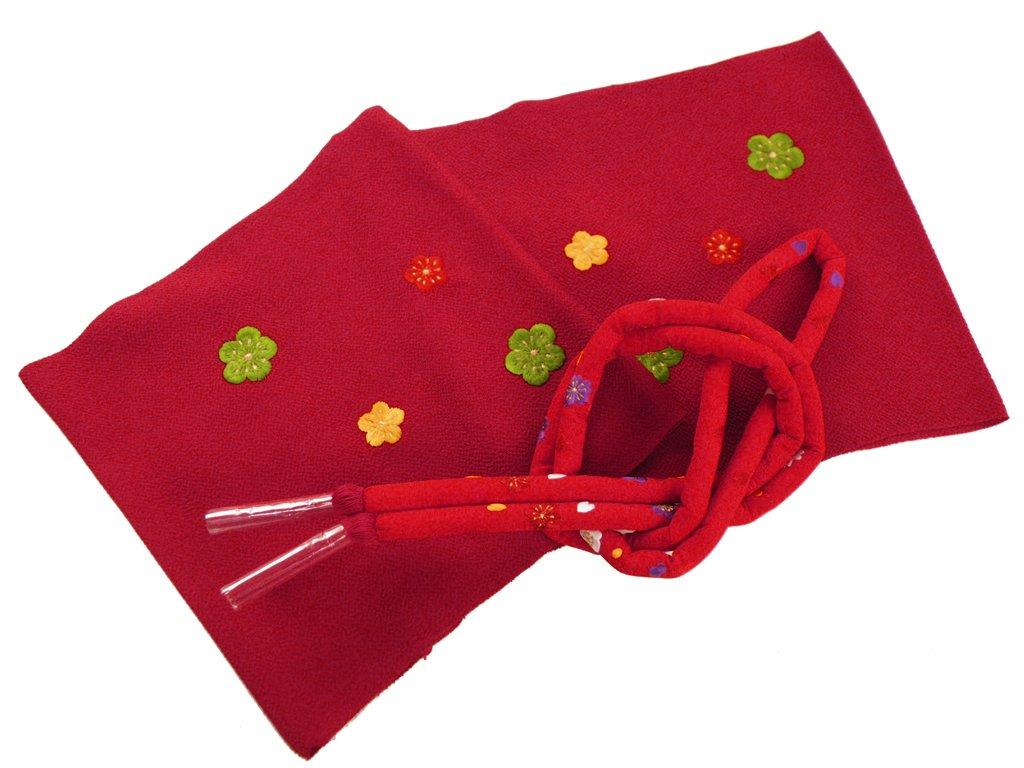 【さらさ】 刺繍入り 正絹 振袖用 帯揚げ 帯締め 2点セット B00NUWNIOU レッド レッド -