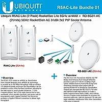 Ubiquiti R5AC-Lite Rocket5ac Lite 2-PACK+ RD-5G31-AC RocketDish AC 31dBi Gain X2