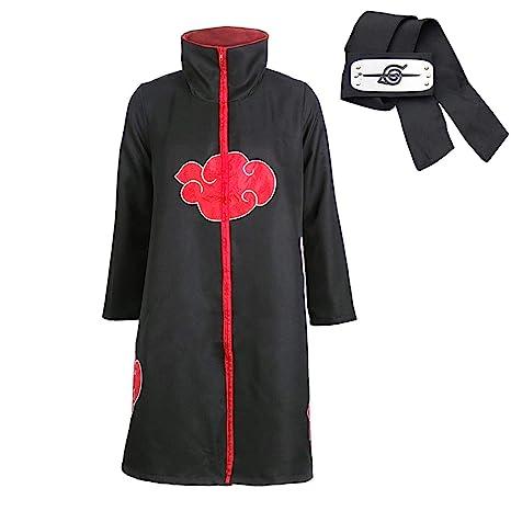 DFL Trajes de Akatsuki Cosplay Capa Larga Cosplay de los Akatsukis Itachi Vestido Akatsuki - Cinta de Cabeza Venda para Cosplay Itachi Uchiha (XL)