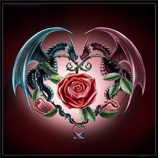 Amazon com: 5D Diamond Painting Rhinestone Dragon Rose