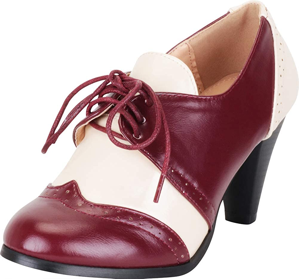 Burgundy White Pu Cambridge Select Women's Retro Pinup Vintage Inspired Lace-Up Chunky Heel Wingtip Oxford