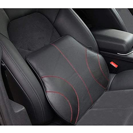 Homdsim Pu Soft Leather Lumbar Cushion Car Seat Lower Back Support Pillow With Soft Memory Foam Comfortable For Car Driving Home Office Computer
