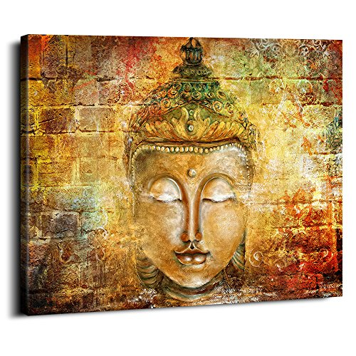 (Hand Painted Framed Canvas Art Buddha Oil Paintings Printed on Canvas 3 panel buddha statue head Wall for Office Home Decor Pictures Modern Artwork Hanging For Living Room Stretched Ready)