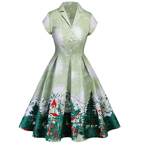 2540428c11f4 Amazon.com: Women's 1950s Cut Out V-Neck Vintage Christmas Party Cocktail  Swing Dress: Clothing