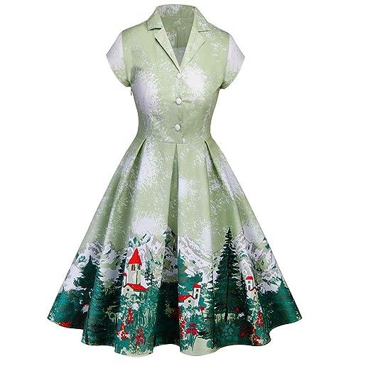 da9200205821 Amazon.com: Usstore Hot Women Christmas Vintage Dress Winter Snow Mountain  Pine Print V-Neck Short Sleeve Button Formal Dressses: Clothing