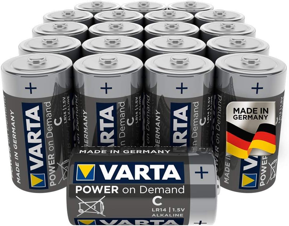 VARTA Power On Demand - Pilas alcalinas C / LR14 / Baby (pack de 20 Unidades, 1.5 V)