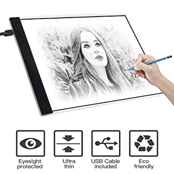 Light Box Drawing, A4 Light Box LED Copy Board Drawing Light Pad with USB  cable, Art Craft Drawing Tracing Tattoo Board for Artists, Drawing,