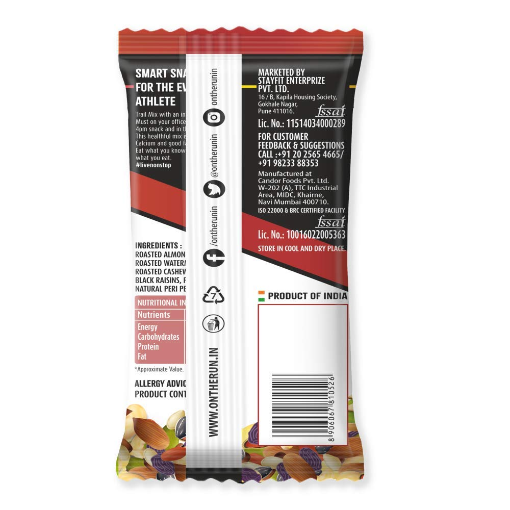 ONTHERUN Peri Peri Trail Mix (Pack of 6 X 30g) Seasoned Nuts, Dry Fruits  and Berries