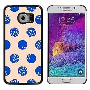 TopCaseStore / la caja del caucho duro de la cubierta de protección de la piel - Dot Beige Blue Minimalist Pattern - Samsung Galaxy S6 EDGE SM-G925
