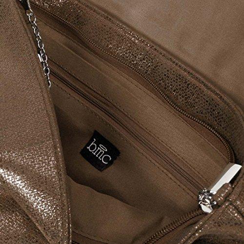 BMC para mujer brillante sintética Material sintético solapa sobre embrague bolso Luster Brown