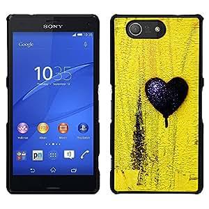 LECELL--Funda protectora / Cubierta / Piel For Sony Xperia Z3 Compact -- Negro Amor Amarillo Textura minimalista --