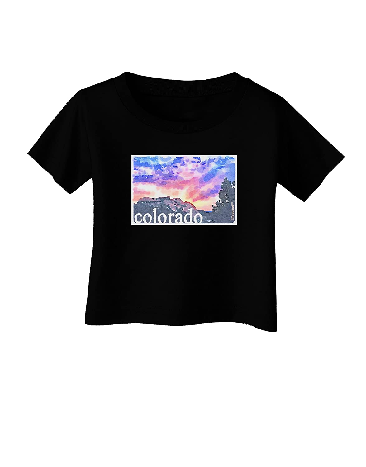 TooLoud CO Rainbow Sunset Watercolor Text Infant T-Shirt Dark