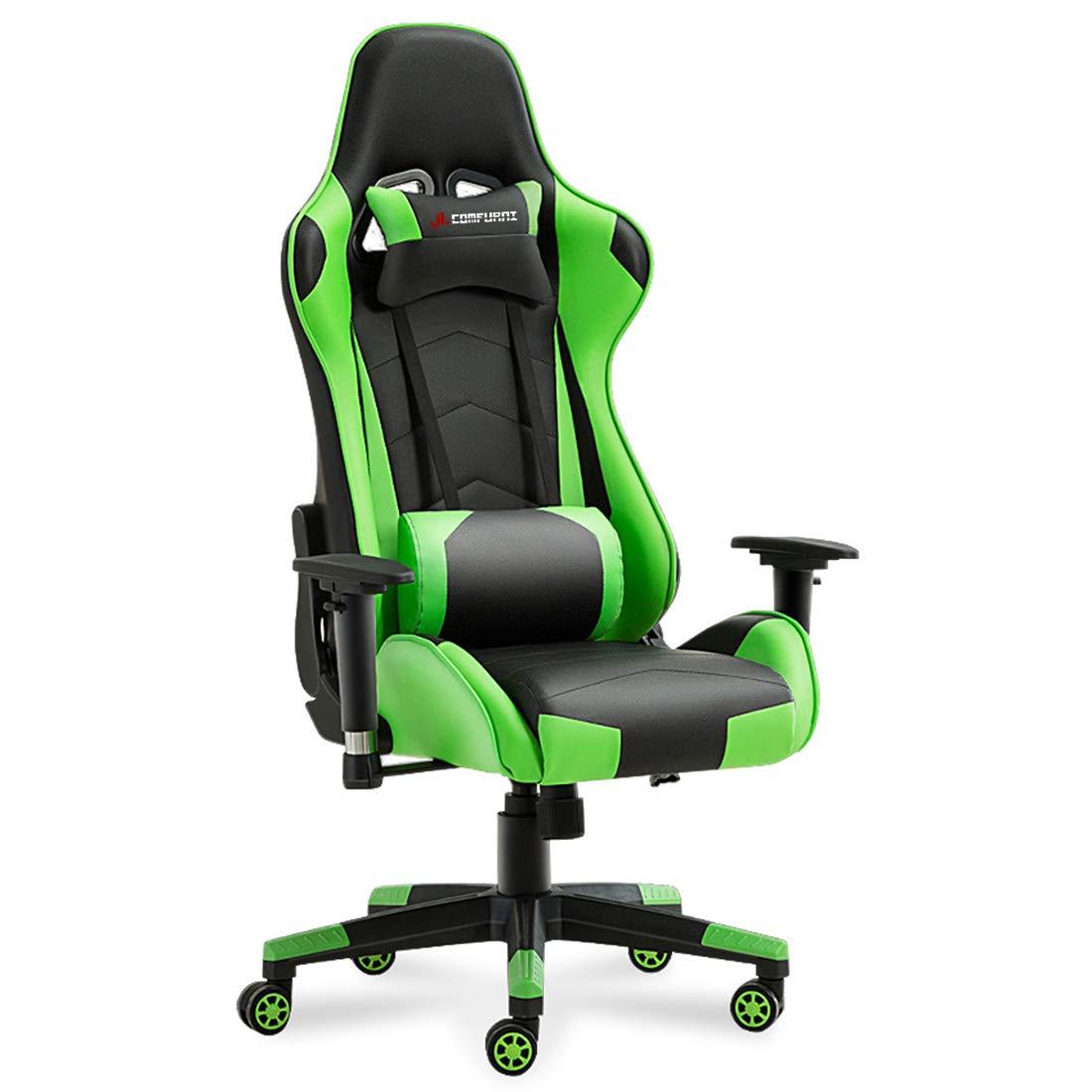 JL Comfurn, sedia ergonomica girevole da ufficio, con schienale alto e resistente, in ecopelle, ideale per scrivania, computer, postazione gioco, stile auto da corsa B & R JL ComFuriture
