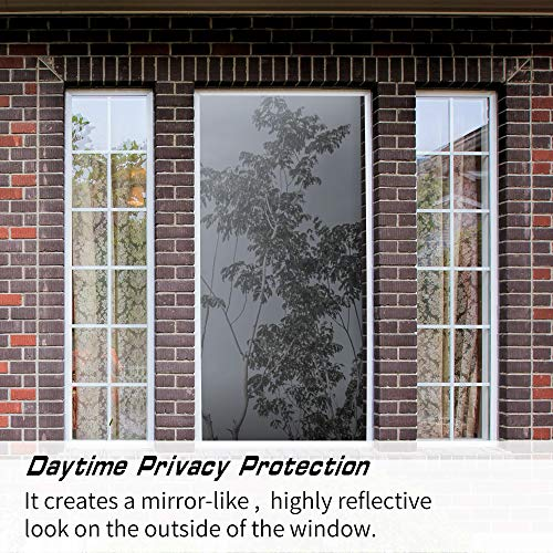 Ablave One Way Window Film Privacy Anti-UV Heat Control Reflective Glass Tint for Home Static Cling Vinyl Silver, 17.5 Inch X 78.7in