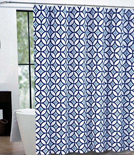 Max Studio Fabric Shower Curtain Blue and White -- Kali