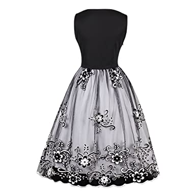 KeKeD23921 Autumn & Summer Dress Womens Vintage Midi Dress Sleeveless Floral Mesh Swing Dress Casual Party