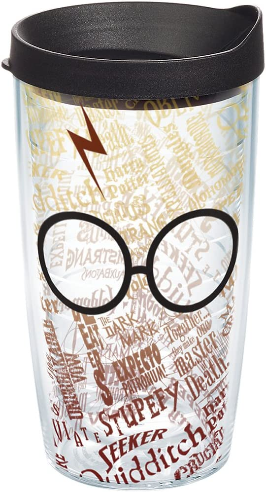 Tervis Harry Potter - Glasses and Scar Tumbler with Wrap and Black Lid 16oz, Clear