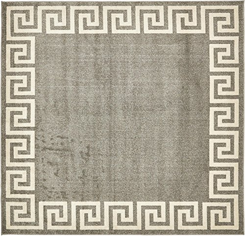 Unique Loom Athens Collection Geometric Casual Modern Border Gray Square Rug (8