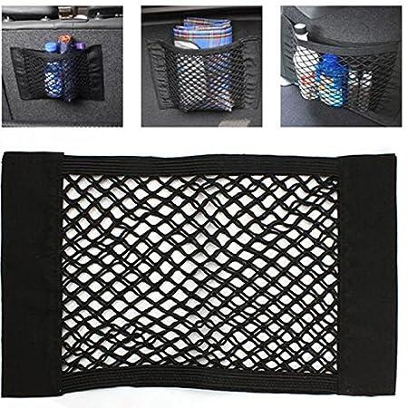 Kingru Universal Car Seat Back Storage Elastic Mesh Net Bag Luggage Holder Pocket Sticker Trunk Organizer Net 40x25cm -Pack of 1 ZWW