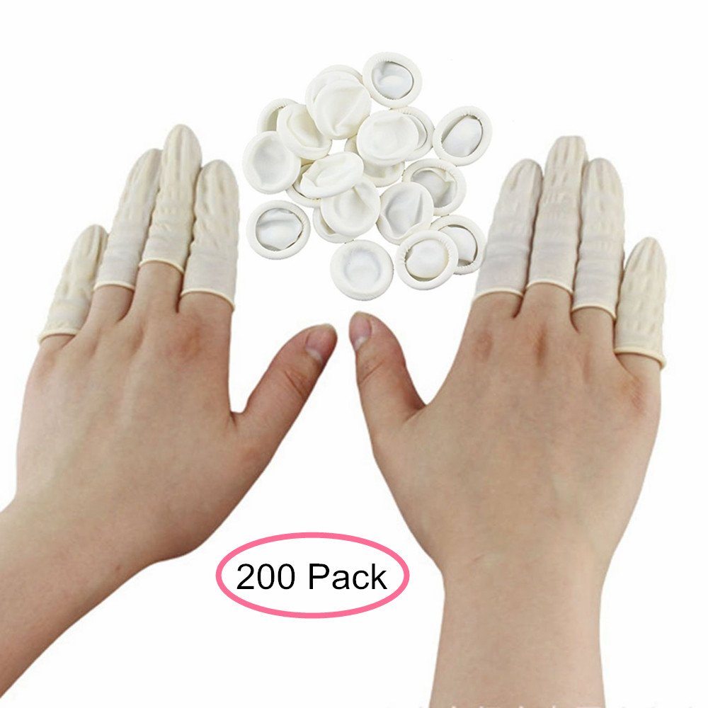 AISIBO Disposable Latex Finger Cots Reusable Rubber Fingertips Anti-Static Protective Finger Gloves (200 Pcs)