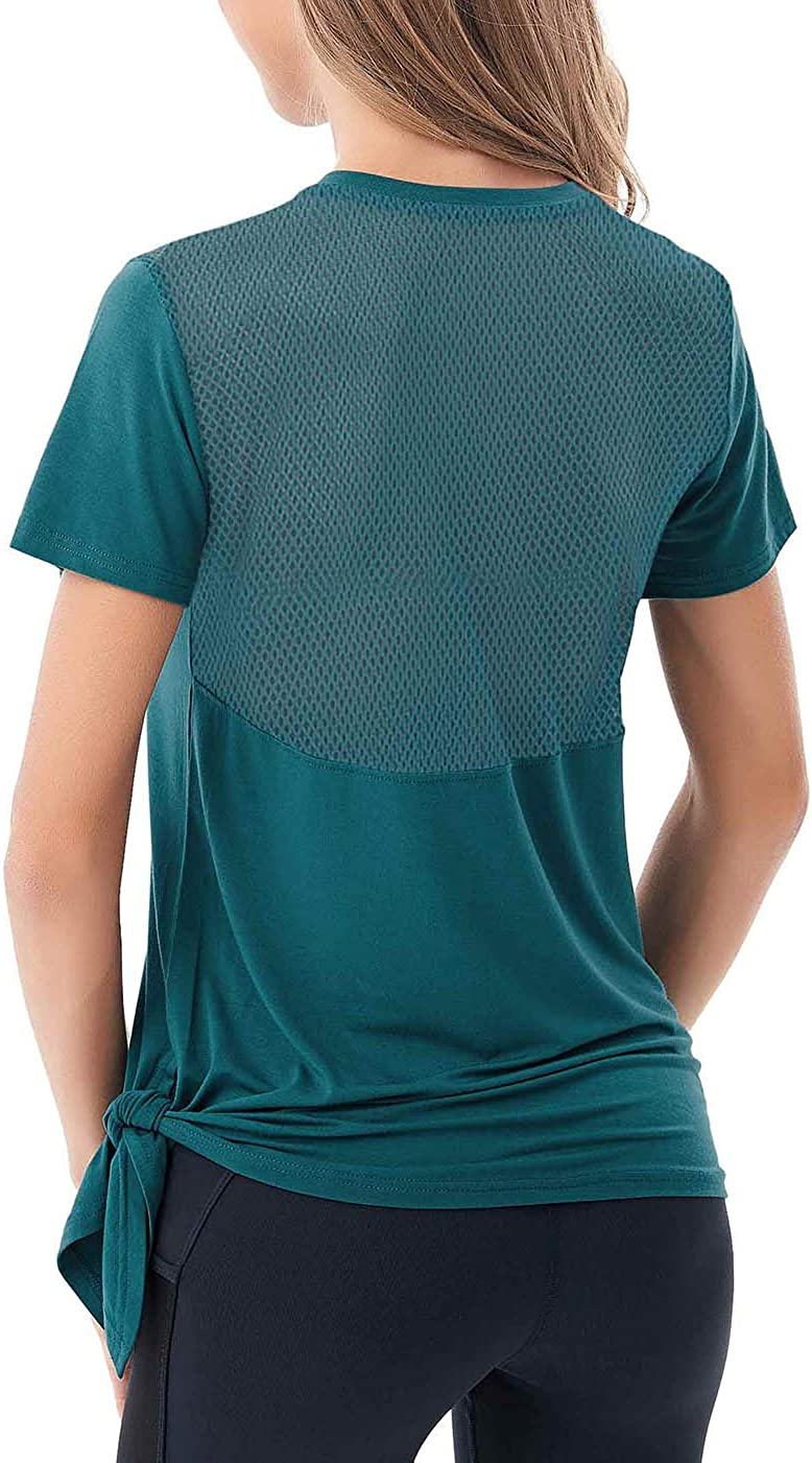 Fihapyli Womens Short Sleeve Workout Tank Top with Mesh Fabric Back Side Tie
