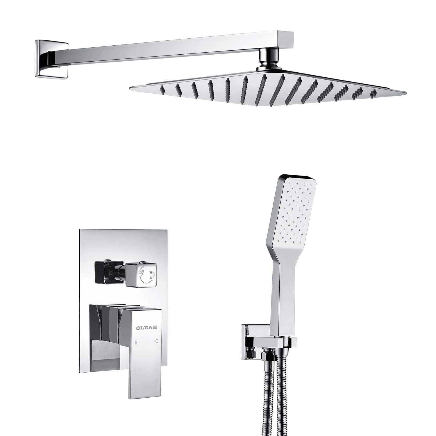 OLEAH Bathroom Rain Mixer Shower Faucet Combo Set Wall Mounted Shower System Polished Chrome with Rainfall Shower & Handheld Shower Head with Automatic Nozzie Cleaning,Including Control Rough-in Valve
