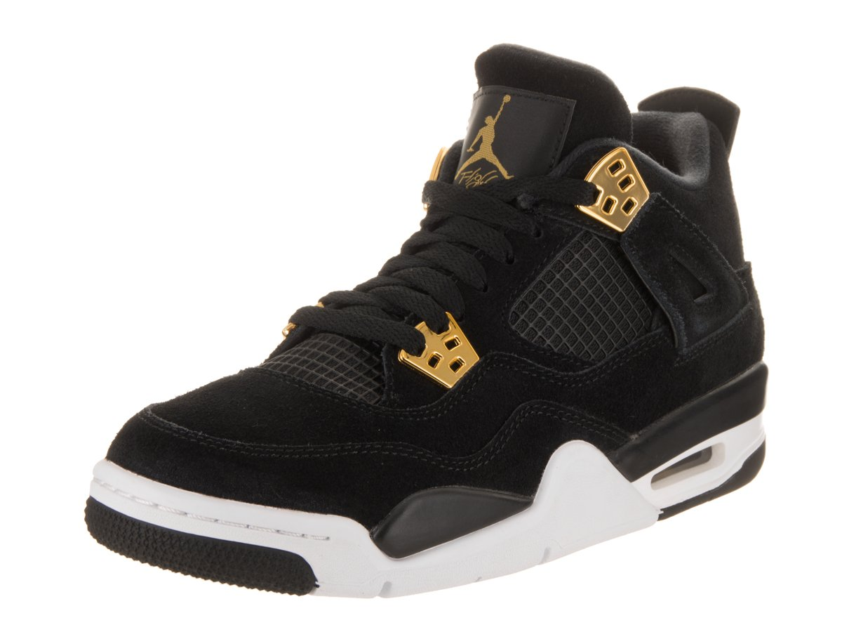 Jordan Nike Kids Air 4 Retro BG Black/Metallic Gold White Basketball Shoe 7 Kids US by Jordan