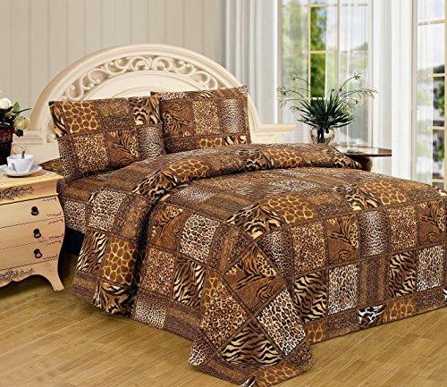 Fancy Linen Black Brown Leopard Zebra Snake Skin Sheet Set Safari Animal Print New (Twin)