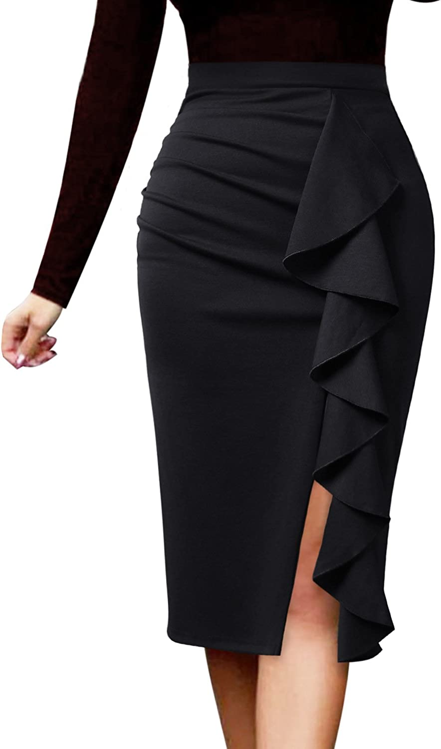 VFSHOW Women Elegant Ruched Ruffle Slit Work Business Party Pencil Skirt