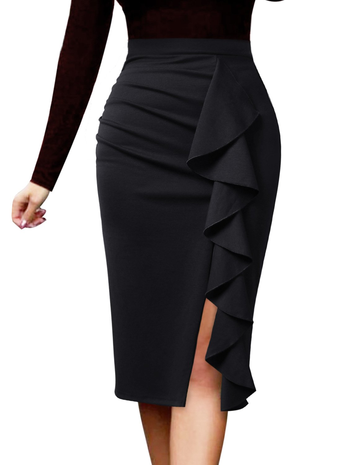 VFSHOW Women Elegant Ruched Ruffle Slit Work Business Party Pencil Skirt 1007 BLK XXL