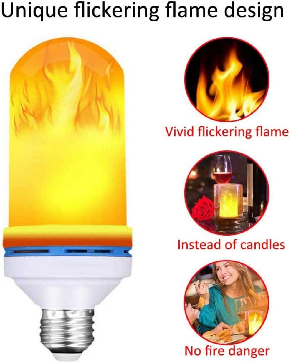 4 Pack Flame Bulb Light E27 Base 6W LED Flame Effect Flickering Fire Light Bulbs 4 Lighting Modes Gravity Breathing Decorative Retro Indoor Outdoor Garden Wedding Party Christmas Halloween-Yellow/_E26